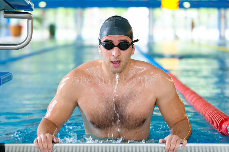 Download Male Swimmer Getting Ready For Competition Stock Image - Image: 25395929