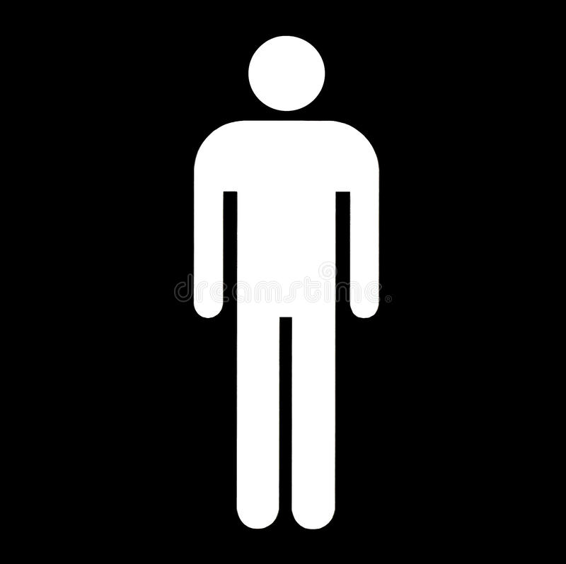 Male symbol. White silhouette of male symbol isolated on black background stock illustration