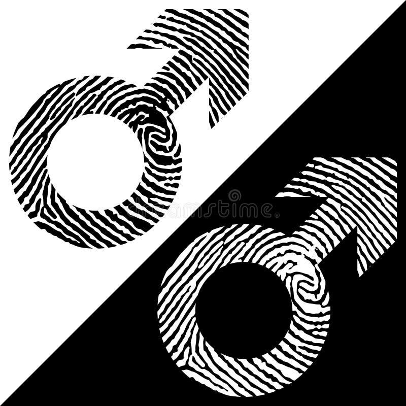 Male symbol fingerprint icon. Black and white design. Two variations. Simple design royalty free illustration