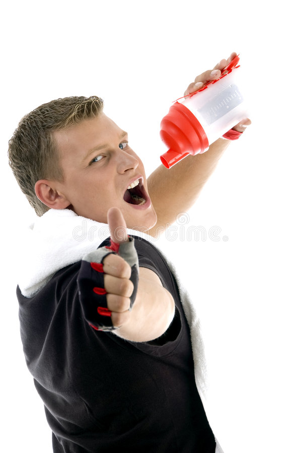 Download Male Taking Refreshment And Wishing Goodluck Stock Photo - Image: 6977928