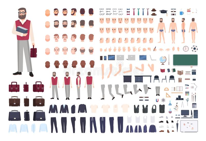 Male teacher constructor or DIY kit. Collection of teaching professor`s body parts, hand gestures, clothing isolated on stock illustration