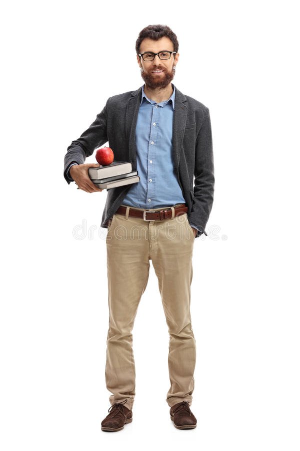 Male teacher. Full length portrait of a male teacher isolated on white background royalty free stock photography