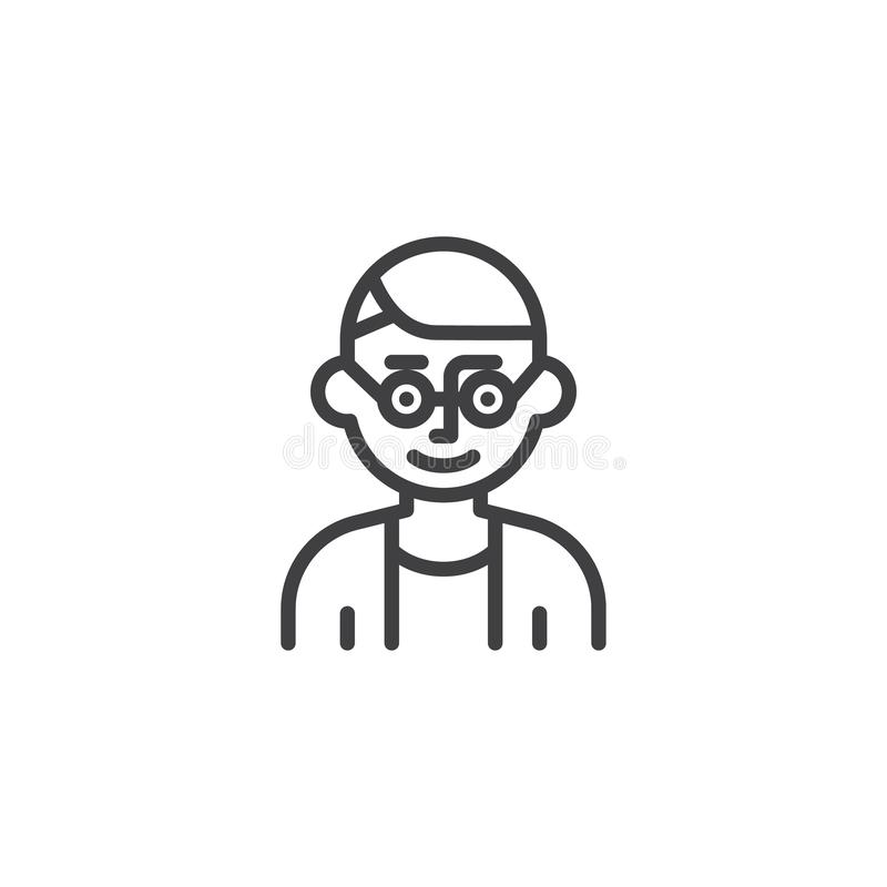 Male teacher with glasses line icon royalty free illustration