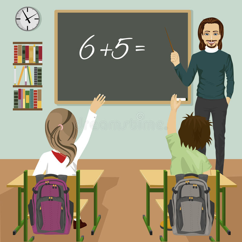 Male teacher writing mathematic task on green chalkboard in classroom and children raising hands up vector illustration