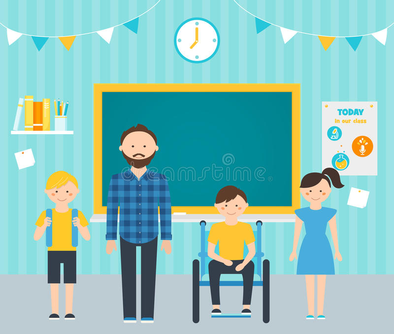 Male Teacher and Young Students in Classroom. Including Students with Special Needs Concept royalty free illustration
