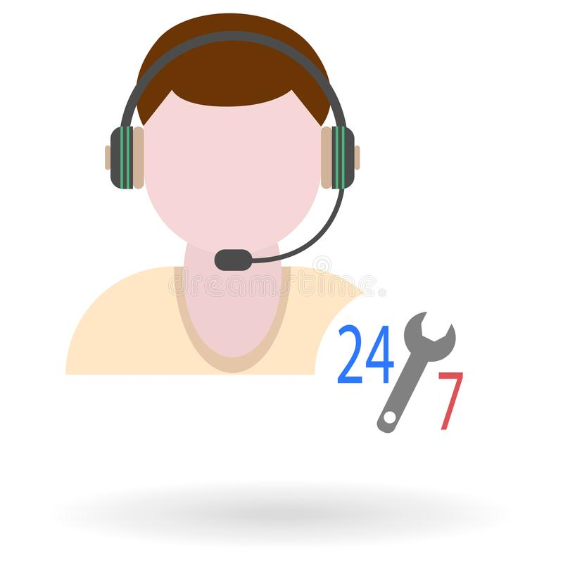 Male technical support flat icon with round-the-clock work symbol vector illustration