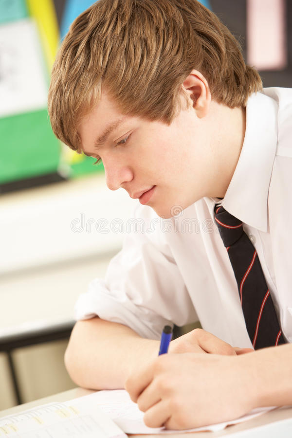 Male Teenage Student Studying royalty free stock photography