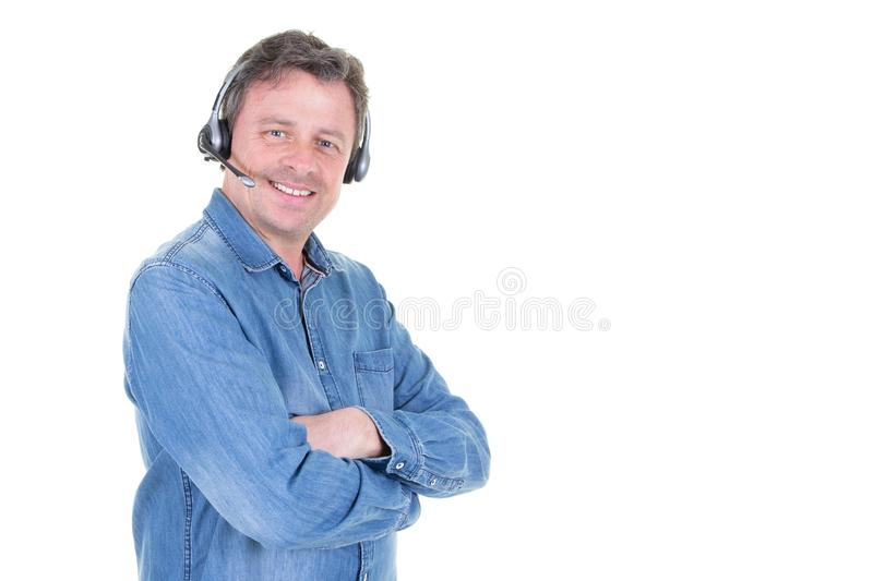 Male telemarketer in call center man operator with copy space stock photos