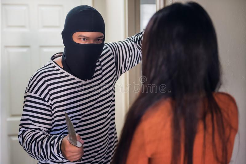 Download Male Thief Attack Victim Girl In Room Stock Image - Image of attack, film: 111942027