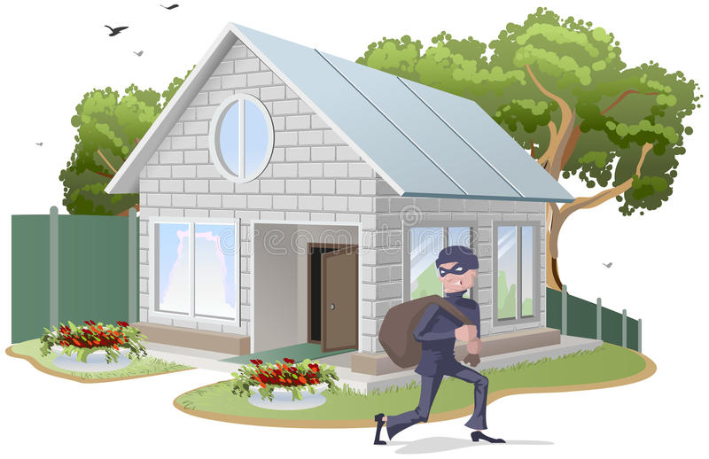 Male thief robbed house. Burglaries. Property insurance vector illustration