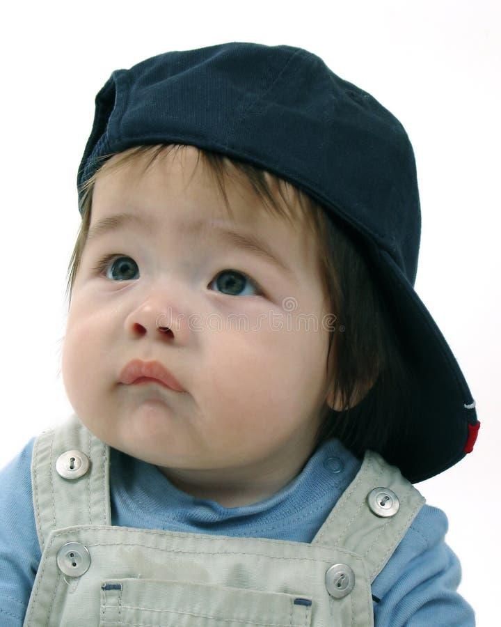 Male toddler with baseball cap stock photos
