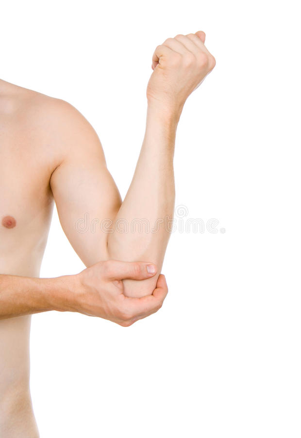 Male Torso, Pain In Elbow Stock Images