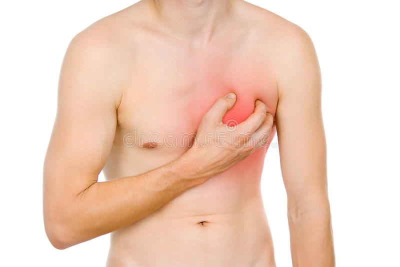 Male torso, pain in my heart royalty free stock image