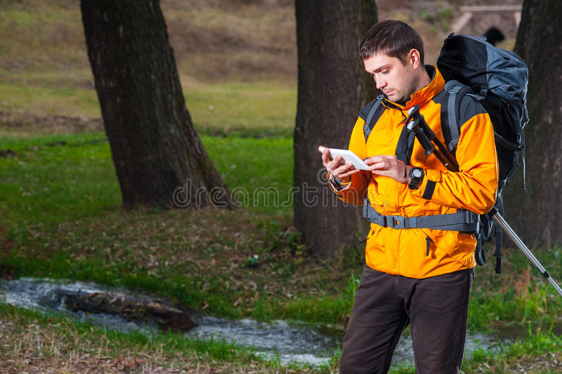 Male tourist with digital tablet royalty free stock photos