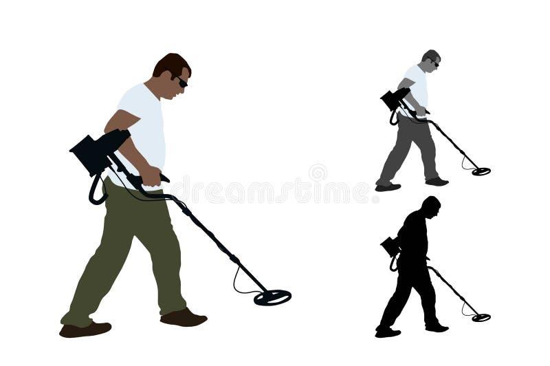 Jew Detector: Man Metal Detector Stock Illustrations