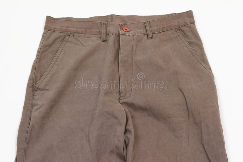 Male Trousers Detail. Closeup on winter male trousers in brown, isolated on white background royalty free stock images