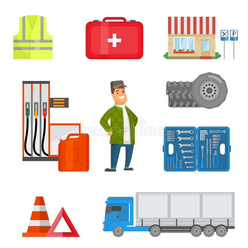 Male Trucker and Road Attributes Collection, Safety Vest, First Aid Kit, Toolbox, Tire Wheels, Road Emergency Signs royalty free illustration