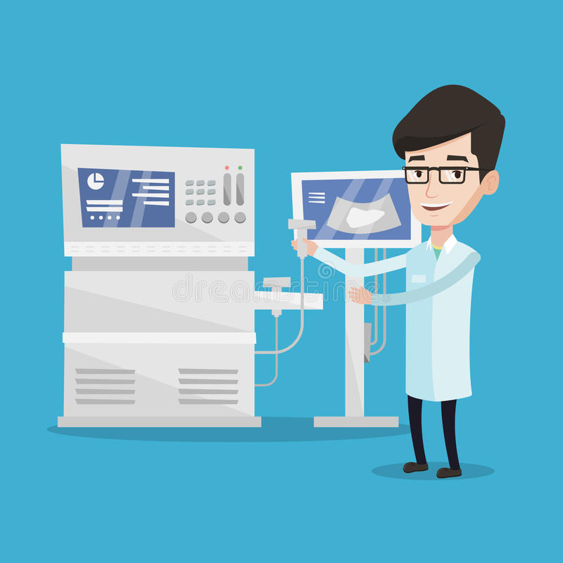 Male ultrasound doctor vector illustration. vector illustration