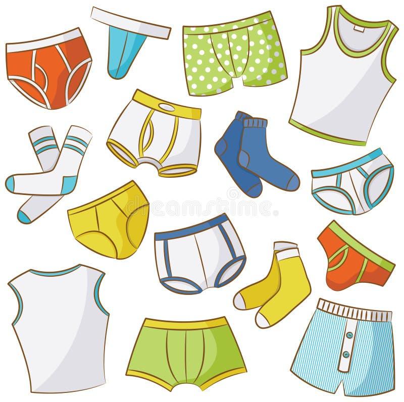 Male Underwear Icon Set. Male Underwear Doodle Icon Set vector illustration