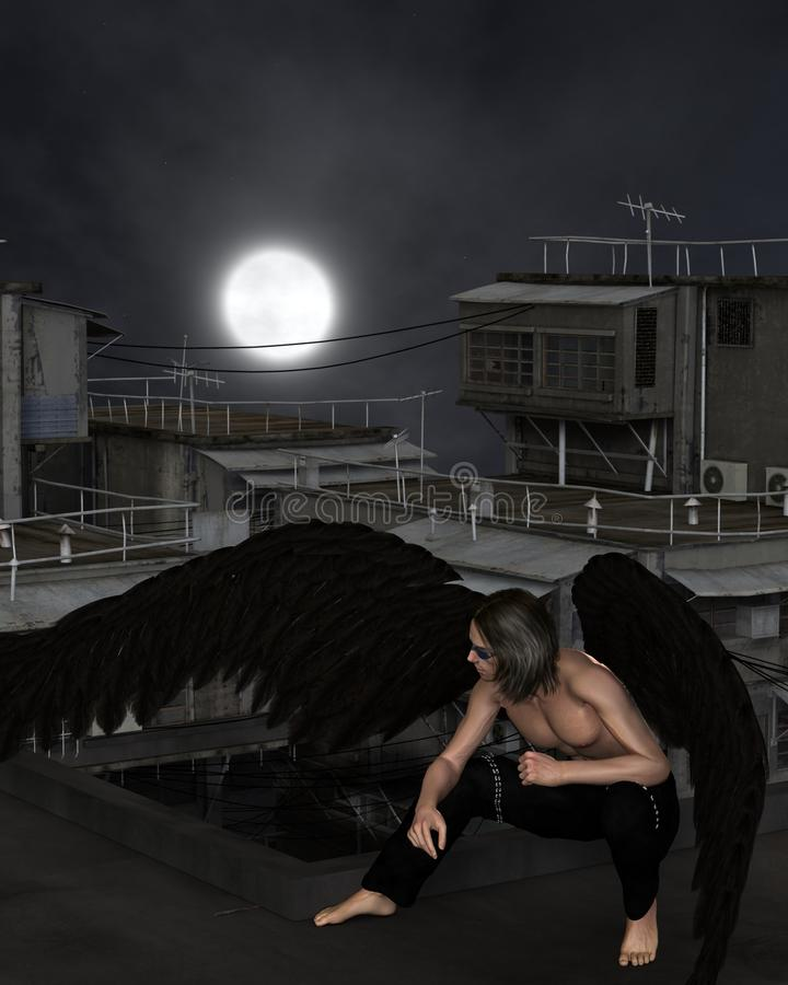 Free Male Urban Guardian Angel, Crouching On Rooftop Stock Images - 58094124