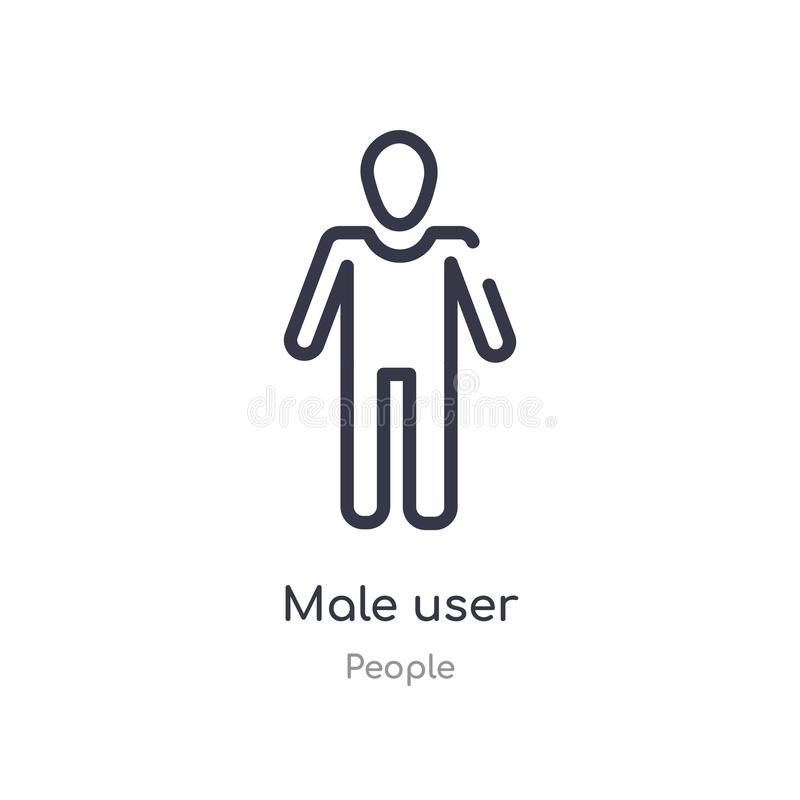 Male user outline icon. isolated line vector illustration from people collection. editable thin stroke male user icon on white. Background vector illustration