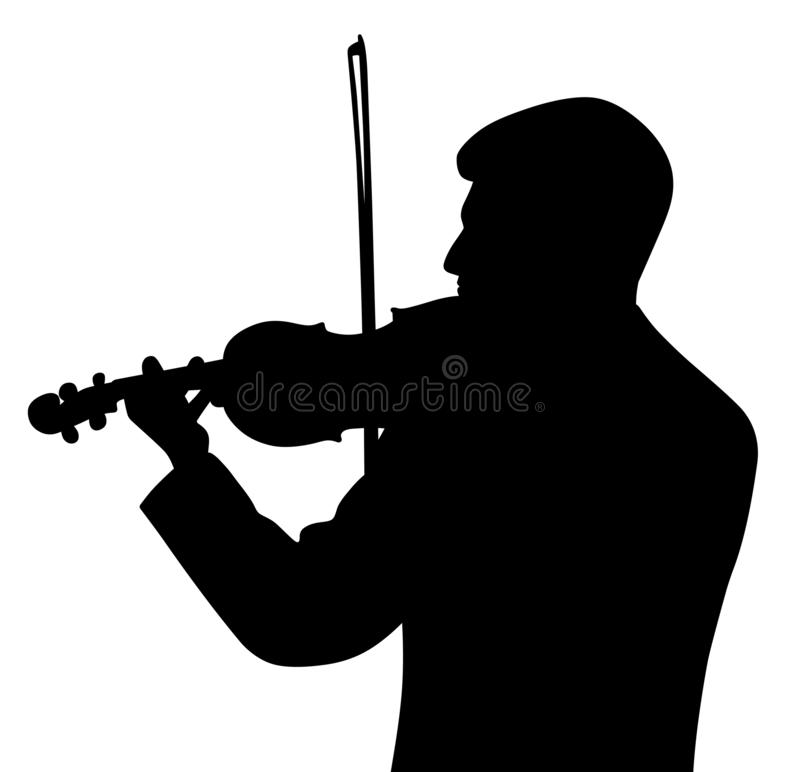 Male violinist back view. Illustration silhouette of a male violinist back view. Isolated white background. EPS file available royalty free illustration