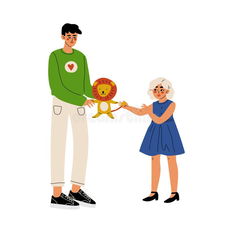Male Volunteer Giving a Girl Lion Toy, Volunteering, Charity and Supporting People Vector Illustration stock illustration