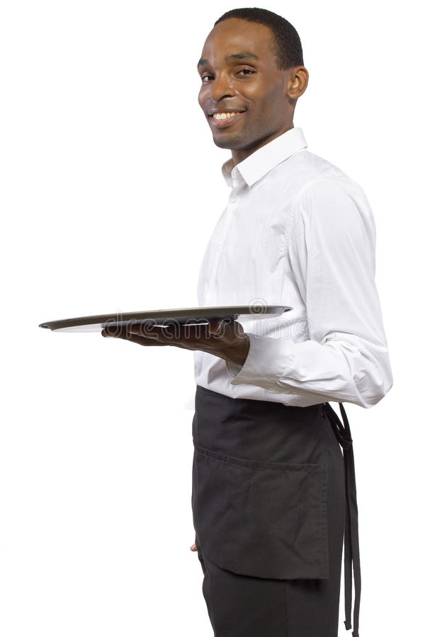 Male Waiter With A Tray Stock Photo