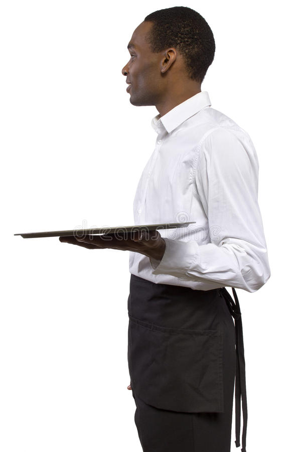 Male Waiter With A Tray Royalty Free Stock Photo