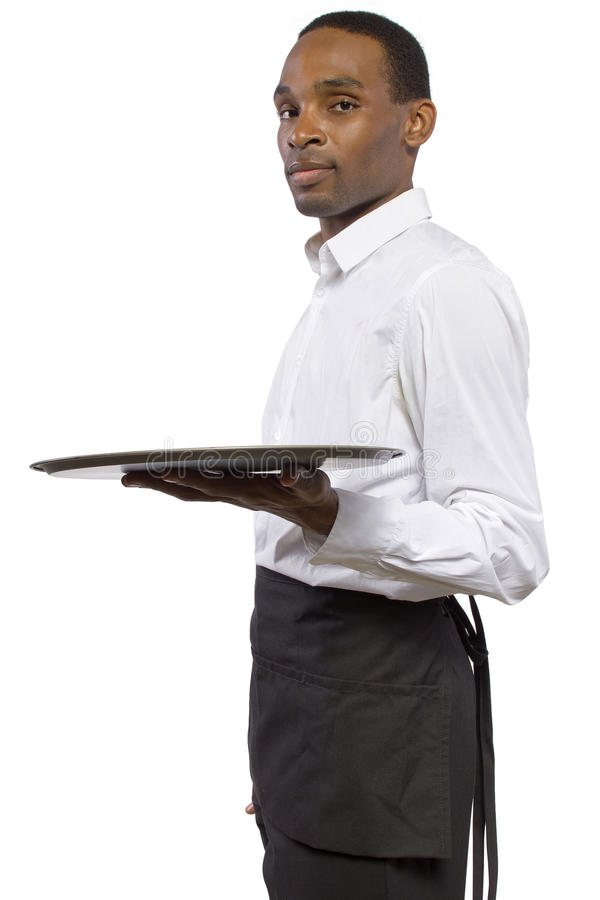 Download Male Waiter with a Tray stock image. Image of plate, carry - 38277705