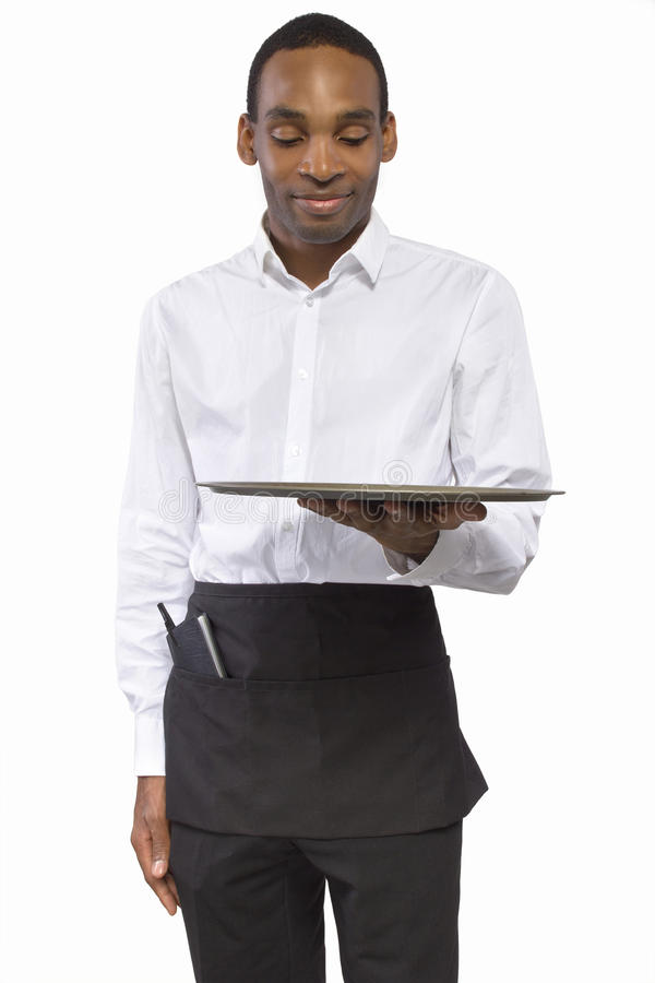 Download Male Waiter with a Tray stock photo. Image of african - 38277736