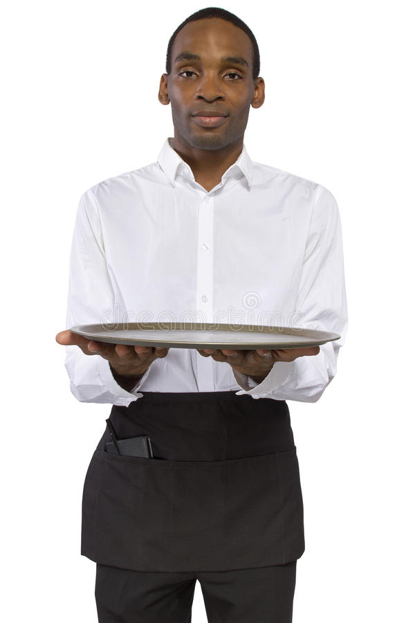 Download Male Waiter with a Tray stock photo. Image of background - 38277776