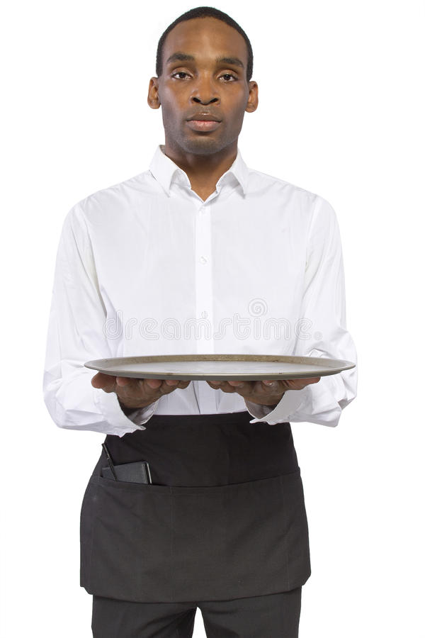 Male Waiter With A Tray Stock Photography