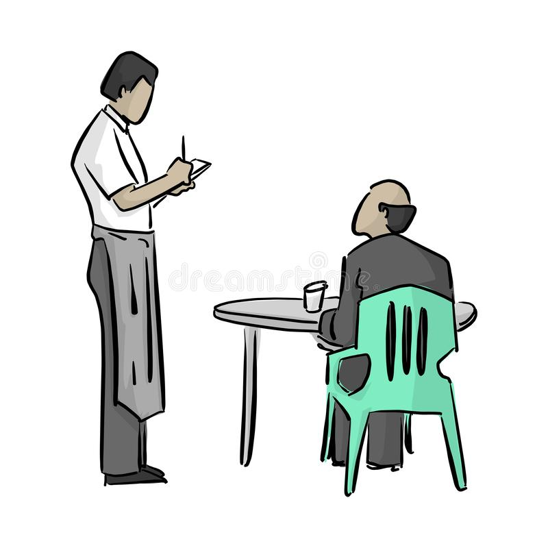 Male waiter writing a note vector illustration with black lines isolated on white background royalty free illustration