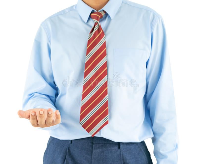 Male wearing blue shirt reaching hand out with clipping path. Close up, Male wearing blue shirt and red tie reaching hand out with clipping path stock photo