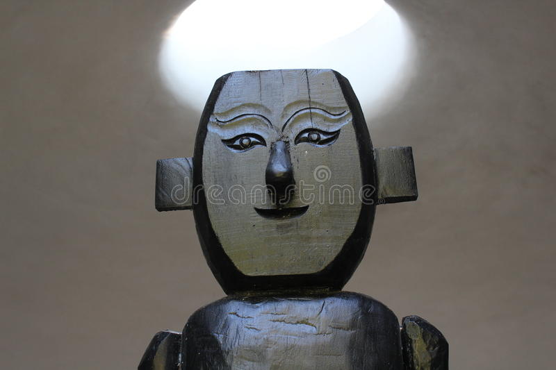 Male wood sculpture royalty free stock images