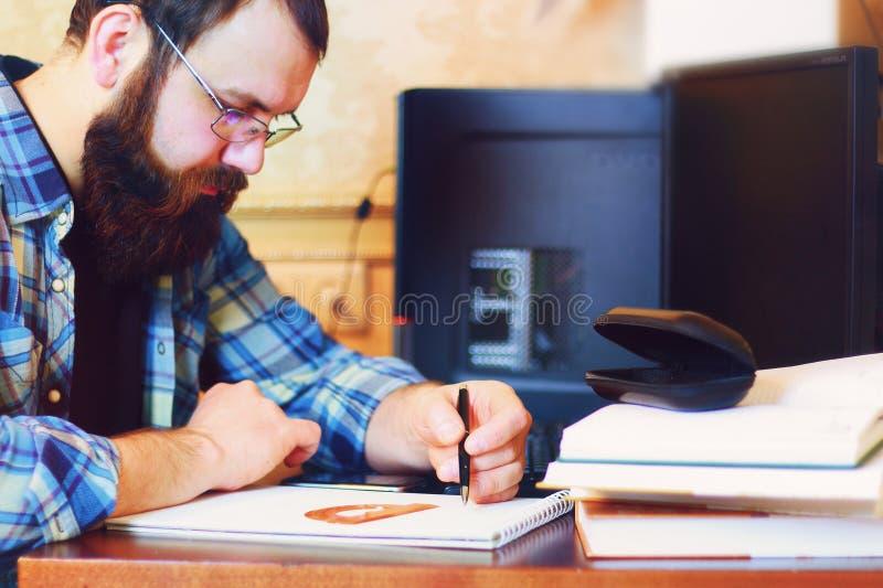 Male work computer pen write stock image