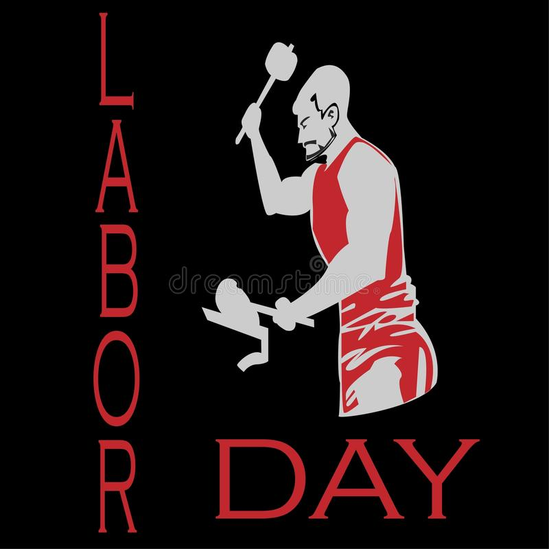 Male worker on the black background in Labor Day event royalty free stock image