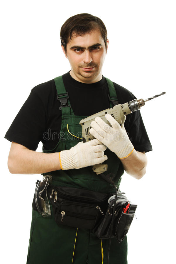 Download Male Worker With An Electric Dril Stock Image - Image: 26817839