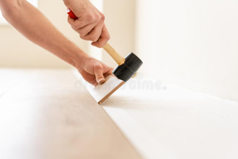 Strikes with a soft hammer on the part with a lock, for fixing. Installing laminate flooring fitting the next piece - stock image