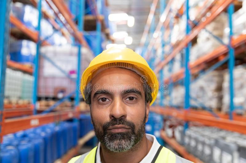 Male worker looking at camera in warehouse. Close-up of male worker looking at camera in warehouse. This is a freight transportation and distribution warehouse royalty free stock photo