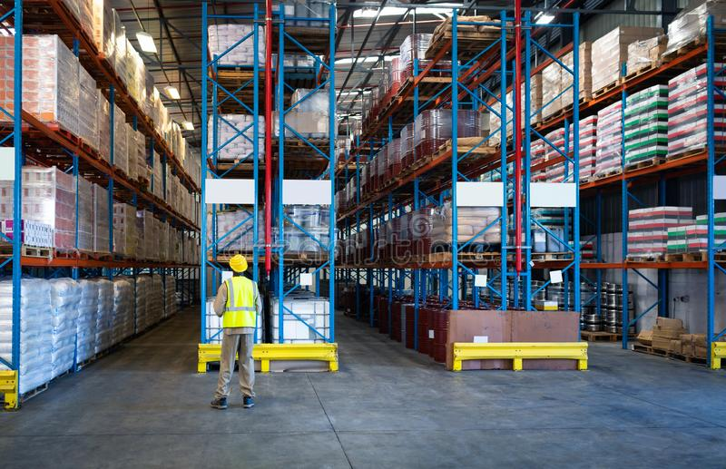 Male worker working in warehouse royalty free stock photos
