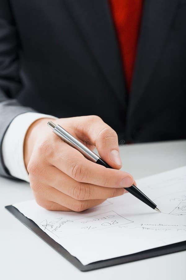 male writing för hand royaltyfria bilder