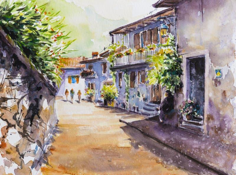 Malecon, aquarelles de La Havane peintes illustration stock