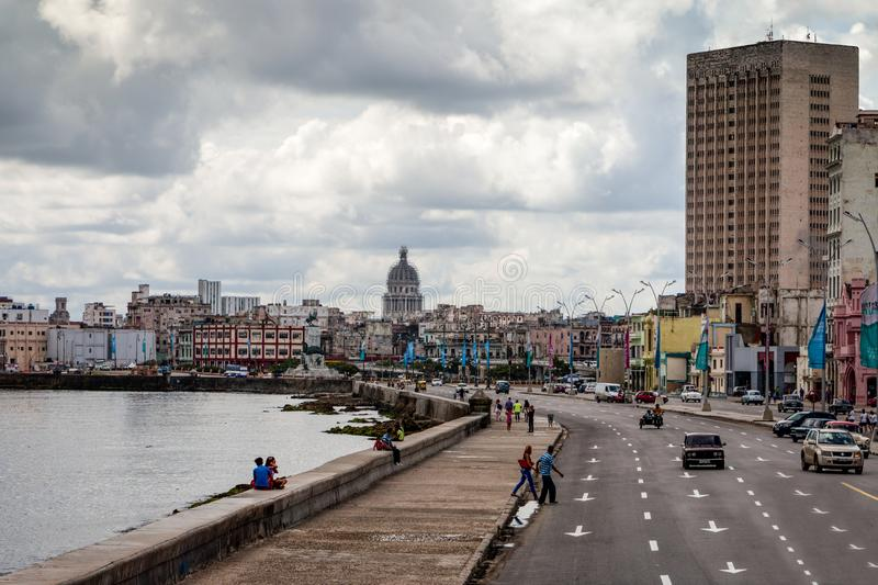 The havana´s Malecon of cuba stock image