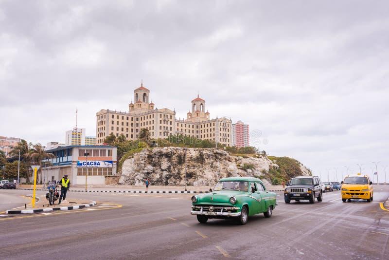 Malecon Road and Hotel Nacional de Cuba / National Hotel of Cuba royalty free stock image