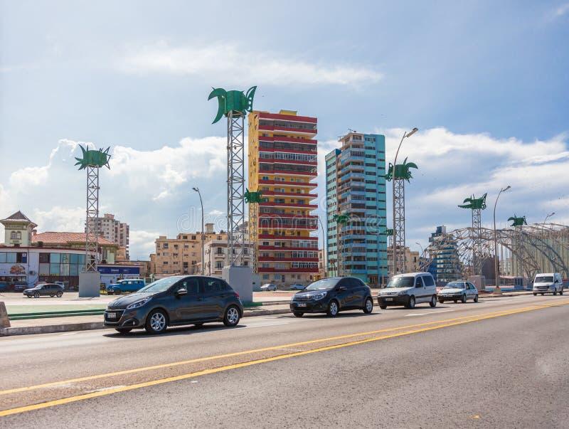 Malecon-Seeseitestraße in altem Havana stockbilder