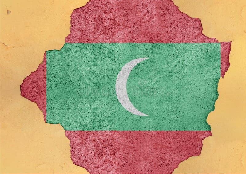 Malediven knackten Loch und defekte Flagge im Großen konkreten Material stockbild