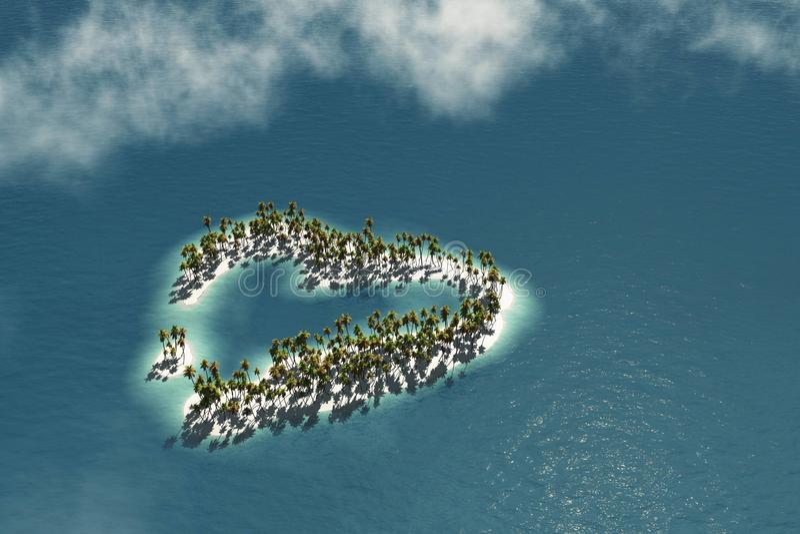 Maledivische Insel in Form des Herzens vektor abbildung