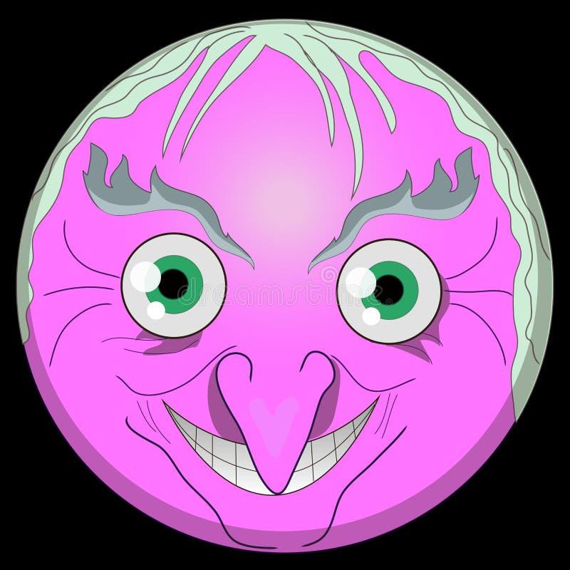 Maleficio digital EPS ai del emoji de la cara del emoji de la bruja de Halloween de la vieja de la bruja vieja sonriente de los e ilustración del vector